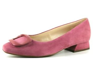 Peter Kaiser Womens UK 6 & 7 Plus Wide Pink Suede Low Block Heel Buckle Shoes