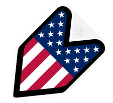 ## JDM WAKABA BADGE UNITED STATES OF AMERICA Car Decal Flag not vinyl sticker ##