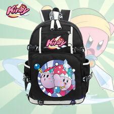 """18"""" Nintendo Kirby School Backpack Cosplay Black Anime Shoulder Laptop Bags //D"""