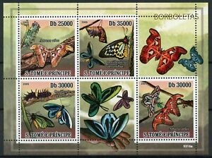 Sao Tome & Principe Butterflies Stamps 2009 MNH Atlas Moth Butterfly 4v M/S