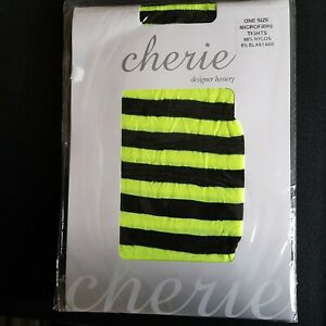 NEON YELLOW AND BLACK STRIPED TIGHTS WOMENS ADULTS FANCY DRESS HALLOWEEN WITCH