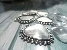10 Heart & Bowknot Antique Silver Pendant Kit,settings & Cabochons tray 20 mm.