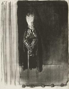 Whimsical lithograph by British artist Ethel Gabain, 1918, Striped Imp..
