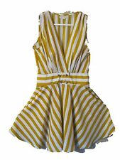 ALYTHEA  Gold or Yellow & White Stripe Dress Medium 2 side Pockets Gold Buttons