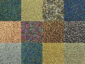 2mm Metallic & Iris glass seed beads, 50g pack, size 11/0, approx 3000 beads