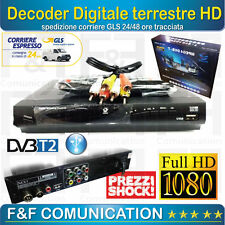 DECODER RICEVITORE DIGITALE TERRESTRE FULL HD T2 HDMI DIVX MPEG4 REC USB
