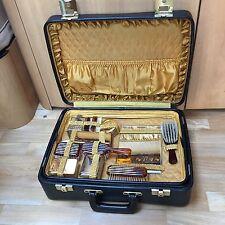 Vintage 1960s Black Vinyl Satin 12 Piece Vanity Set Suitcase Weekend Case Bag