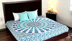 Mandala Tapestry Multicolored Peacock Print Wall Hanging Home Decor-Queen Size