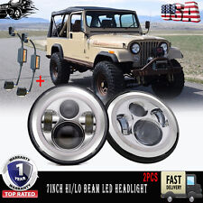 "7"" Round Chrome Led Daymaker Style Headlight Pair Cj Tj Jk - Pair -Free Shipping"