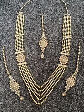 Indian Bridal Haar Gold Champagne Polki Jewellery Necklace, Earring and Tikka