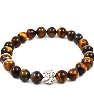 Tiger Eye Bead Crystal Stud Bracelet