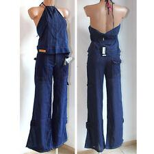 Completo Gianfranco Ferrè blu top e pantalone 44 L cotone donna
