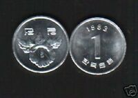 KOREA SOUTH 1 WON KM4A 1970 ROSE UNC COIN SCARCE DATE KOREAN MONEY ASIA WORLD