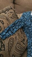 Attention Blue Black White Wrap 3/4 Sleeve Dress Womens Size Small