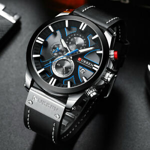 Relojes Hombre Luxury Chronograph Mens Watch Waterproof Military Leather Watches