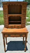 Vtg Antique Sprague Carleton Solid Maple 2 Piece Secretary Writing Reading Desk