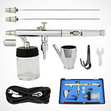 NEW PRO Siphon Feed Dual-Action Airbrush Kit Hobby w/ Air Hose & 3 Nozzle Needle