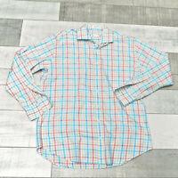 Peter Millar Mens L Button Down Shirt Blue Pink Blue Plaid Long Sleeve Cotton