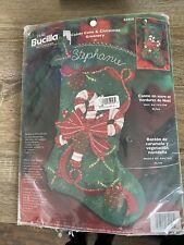 """Bucilla Felt Stocking Kit """"Candy Cane&Christmas Greenery"""