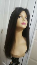 New Jacquelyn Black 1b long Wig Human Hair Silktop Hand Knotted Lace Front M