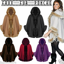 Womens Ladies FAUX FUR PONCHO CAPE Celeb Trim Hooded Jacket Lush Wrap Coat 8-16