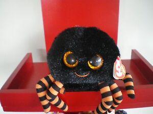 Ty Beanie Boos CRAWLY black spider 6 inch NWMT. Retired.