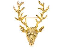 Reindeer Antlers Fashion Breastpin Brooch Golden Shiny Metal Alloy Moose Deer