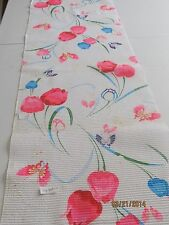 Vintage Japanese Cotton Kimono Fabric, White Crinkle w/Tulips and Butterflies