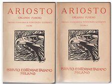 2 VOLUMI ARIOSTO L'ORLANDO FURIOSO DISCORSO VINCENZO GIOBETTI IST. ED. IT.-L3789