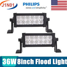 "2x 36W 8"" Philips LED Work Light Bar Flood Lamp Off road 12V 24V Fog Driving SUV"