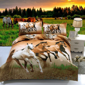 Running Horse Single/Double/Queen Bed Doona/Duvet Quilt Cover Set Pillowcase
