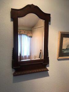 Antique Wall Mirror Dark Oak Wood Long Victorian Or Edwardian Early 20th Century