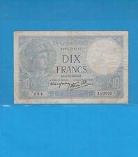 10  Francs MINERVE  du 5-12-1940  Alphabet J.81392