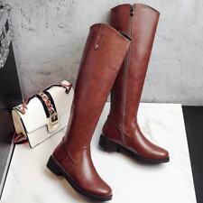Womens Side Zip Cuban Heels Riding Knee High Boots Walking Winter Comfort Shoes