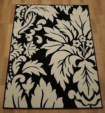 Cheap Budget Black & White/Ivory Damask Modern Small Medium Mat Rug 120x170 cm