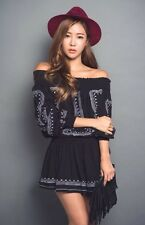 NWT Embroidered Off the Shoulder Black Dress/Top One Size Korean Style Bloggers