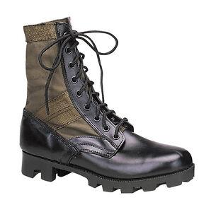 GI Style Military Jungle Boot - Canvas & Nylon W/ Leather Toe & Heel - Black, OD