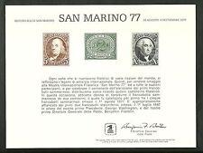 1977 STATI UNITI CARTONCINO RICORDO MANIFESTAZIONE SAN MARINO 77 WASHINGTON