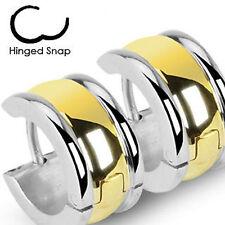 1x acier inoxydable à charnières large boucle d'oreille anneau avec or plaque