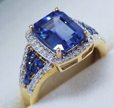 585 GG tanzanite Bague AAA 3,00 CT. avec saphirs et diamants Harry Ivens