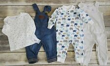 Lot of 4 Baby Boy 6-9 Months One Piece Bodysuit Overall Outfits Route 66 Carters