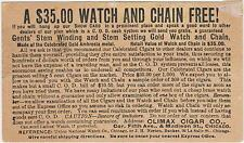 RARE 1890 CLIMAX CIGAR CO VICTORIAN POST CARD - $35 GOLD WATCH & CHAIN FOR FREE!