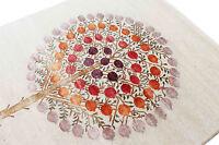 "5'8"" x 7'10"" Pomegranate Tree Gabbeh Handknotted Wool & Silk Area Rug Carpet"