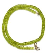 Natural Gem Peridot 5 to 6MM Size Faceted Heishi Rondelle Beads Necklace 17""