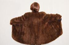 "Rare Paula Lishman Brown knit Sheared beaver fur coat jacket 67"" Sweep"