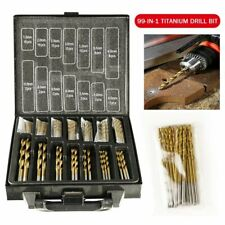 99PCS HSS Metric Step 1.5-10mm Titanium Coated Drill Bit Set Metal Wood Plastic
