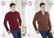 Knitting Pattern Mens Cabled Detail Sweater Jumper King Cole Double Knit DK 5469