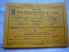 Cdn. Dept. of Transport -Telecommunicat. Private Receiving Stn. License 1951- 52