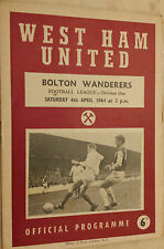 1963/64 Football League - WEST HAM v BOLTON WANDERERS - 4th April