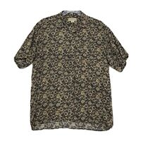 Natural Issue 100% Rayon Shirt Mens Size L Large Short Sleeve Button Front
